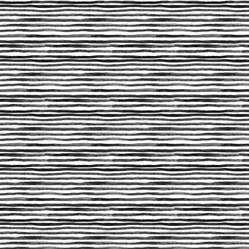 Fondo horizontal de las rayas del extracto negro de la tinta Líneas dibujadas mano Ejemplo de la tinta Fondo rayado simple libre illustration
