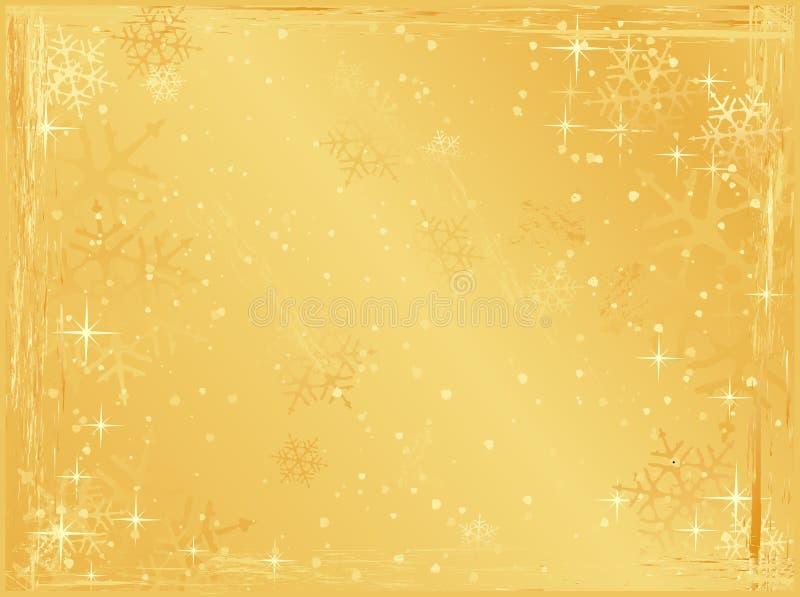 Fondo horizontal de oro de la Navidad del grunge stock de ilustración