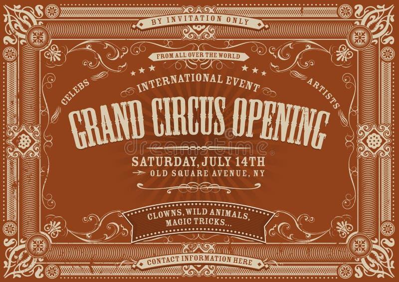 Fondo horizontal del circo del vintage stock de ilustración