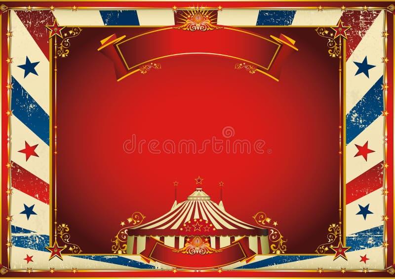Fondo horizontal del circo del vintage con el top grande stock de ilustración