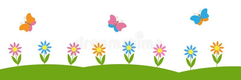 Fondo horizontal del vector con las flores y las mariposas ilustración del vector