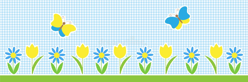 Fondo horizontal del vector con las mariposas y las flores libre illustration