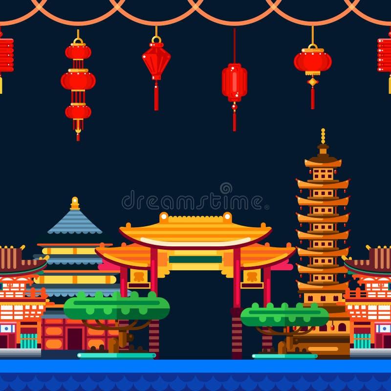 Fondo horizontal inconsútil de la ciudad china Viaje al ejemplo plano del vector de China Paisaje urbano de la noche, Pasillo libre illustration