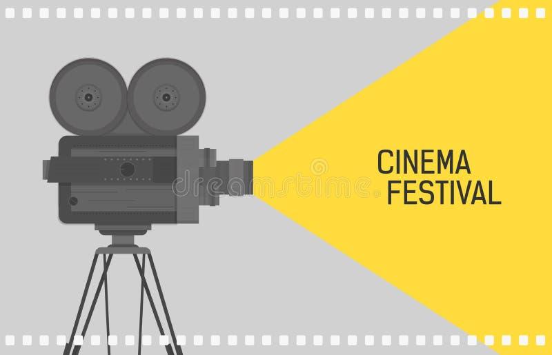 Fondo horizontal para el festival del cine con el proyector retro de la cámara o de película que se coloca en la perforación del  stock de ilustración
