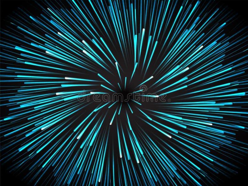 Fondo Hyperspace del movimiento para el concepto futurista de la tecnología stock de ilustración