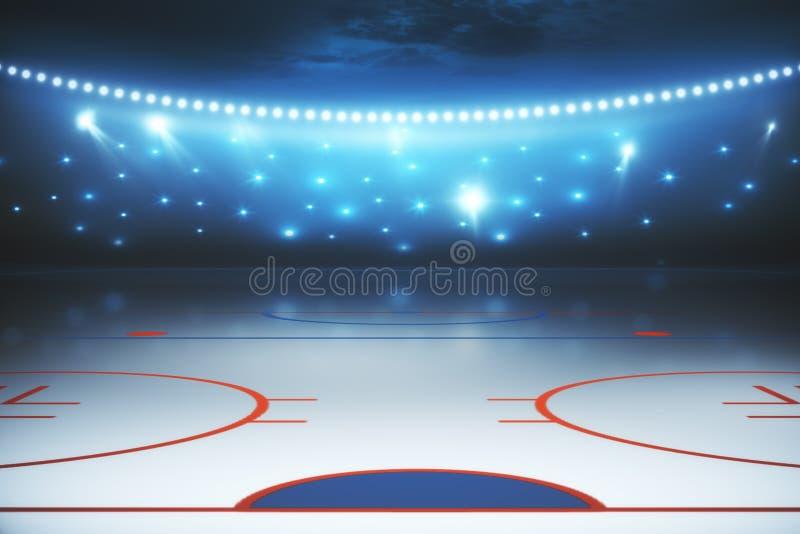 Fondo illuminato del campo dell'hockey illustrazione di stock