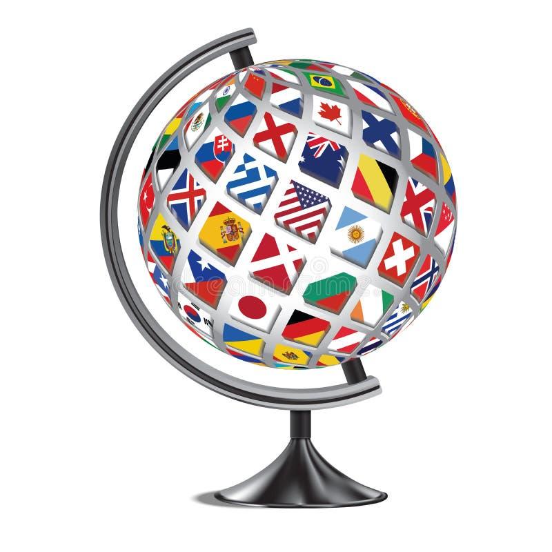 fondo Illustration_1 di simbolo di vettore del globo di stile della bandiera di paesi del mondo del globo 3D royalty illustrazione gratis