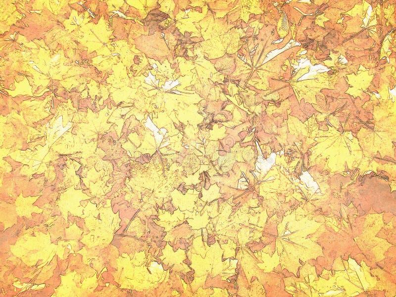 Fondo illustrato delle foglie di autunno luminose fotografia stock
