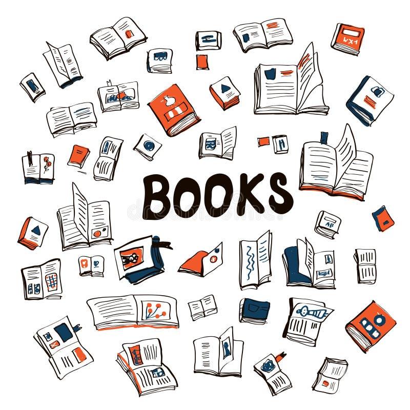 Fondo incompleto de muchos libros ilustración del vector