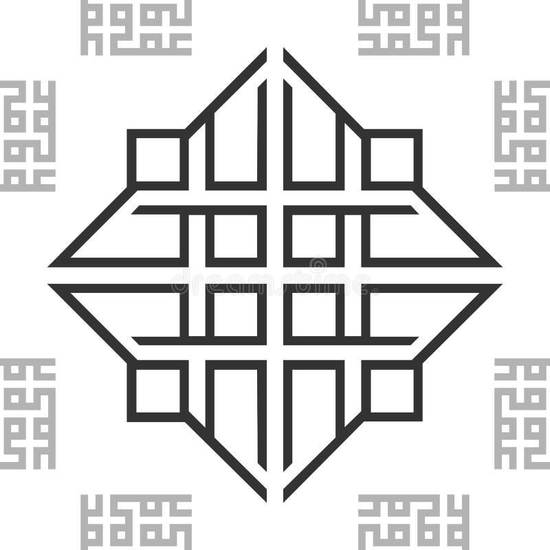 Fondo inconsútil árabe oriental blanco y negro de la textura de la teja del modelo de BW del ornamento Vector ilustración del vector