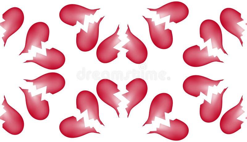 Fondo inconsútil 5 del modelo del azulejo del corazón quebrado stock de ilustración