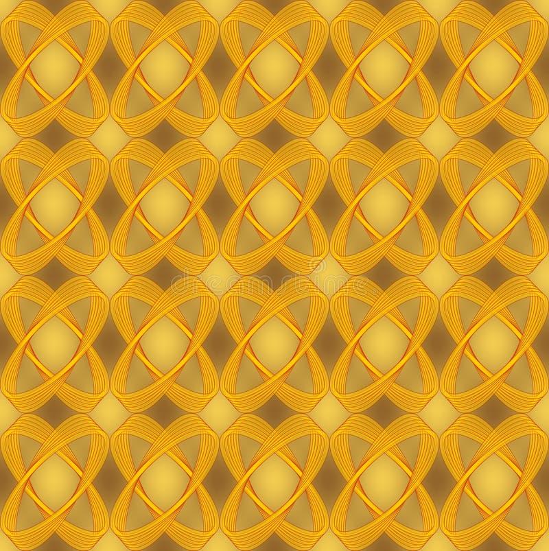 Fondo inconsútil abstracto con óvalos semitransparentes, diseño lujoso del brocado de oro de la materia textil con el efecto 3d stock de ilustración