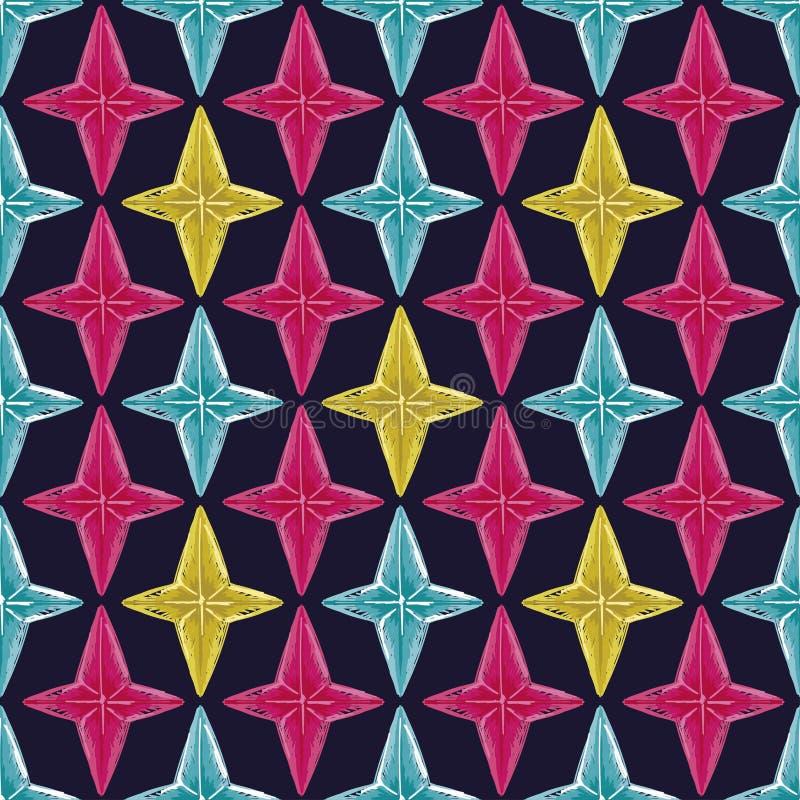 Fondo inconsútil abstracto con las estrellas del estilo del bosquejo libre illustration