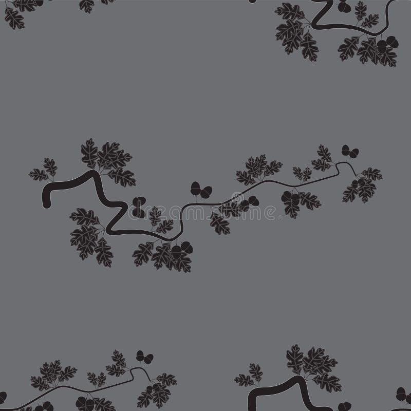 Fondo inconsútil abstracto del vector con las hojas y las bellotas del roble stock de ilustración