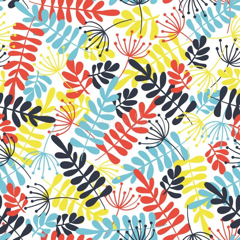 Fondo inconsútil abstracto del vector de las formas de hoja Cal, silueta azul, roja de la hoja en el fondo blanco Para la tela, p libre illustration