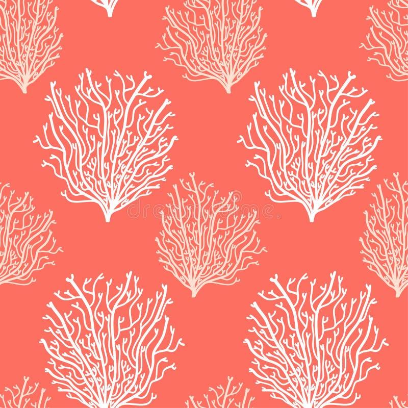 Fondo inconsútil abstracto lindo en 2019 colores coralinos vivos de moda stock de ilustración
