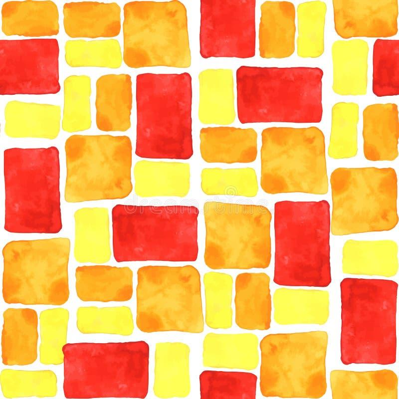 Fondo inconsútil amarillo, anaranjado, rojo brillante de la teja de la acuarela stock de ilustración