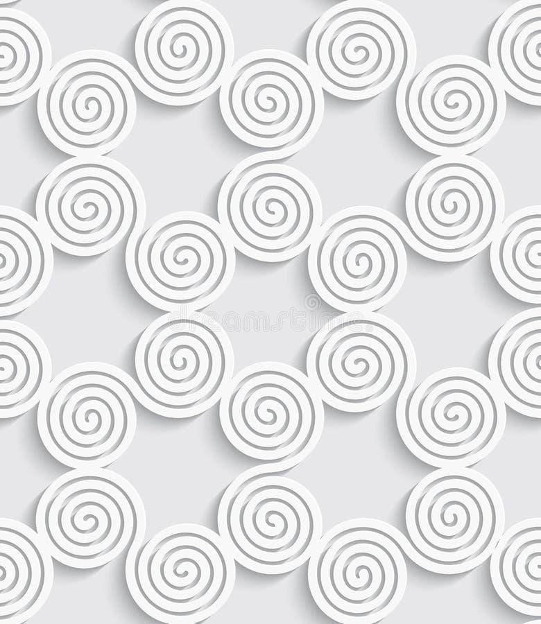 Fondo inconsútil blanco cortado espiral ilustración del vector
