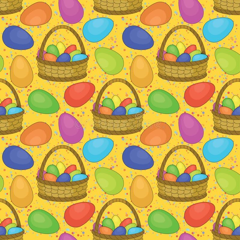 Inconsútil, cesta con los huevos de Pascua ilustración del vector