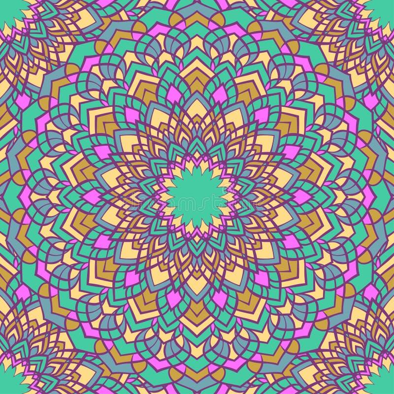 Fondo inconsútil coloreado mezclado brillante del extracto ornamental del cordón del mano-dibujo con muchos detalles para el dise ilustración del vector