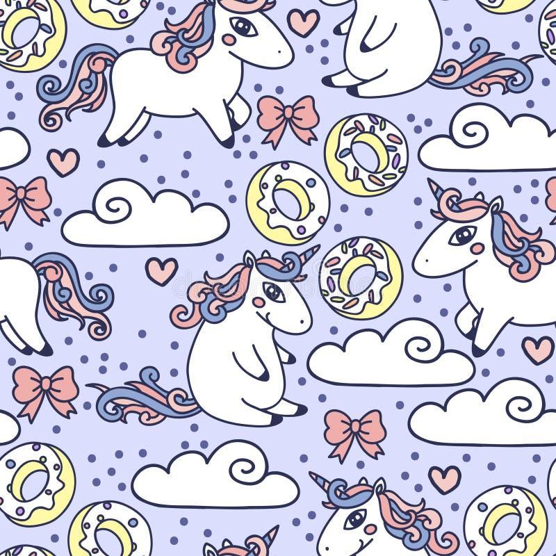 Fondo inconsútil colorido con unicornios lindos y dulces del garabato stock de ilustración