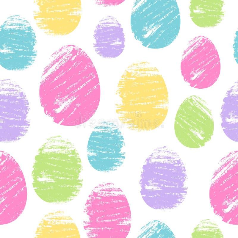 Fondo inconsútil colorido de los huevos de Pascua Modelo del ejemplo del vector del diseño de los movimientos del cepillo stock de ilustración