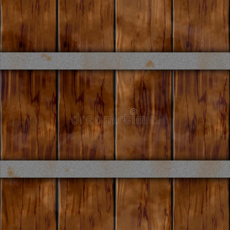 Fondo inconsútil con dos aros oxidados de plata del metal - color marrón oscuro de la textura del modelo del tablón del tablón de ilustración del vector