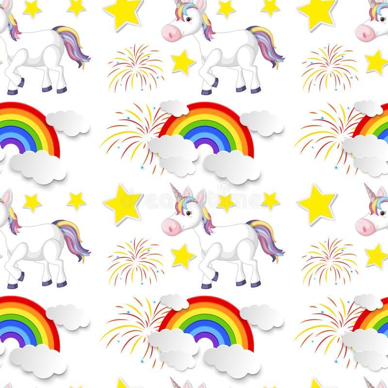 Fondo inconsútil con el arco iris y el unicornio ilustración del vector