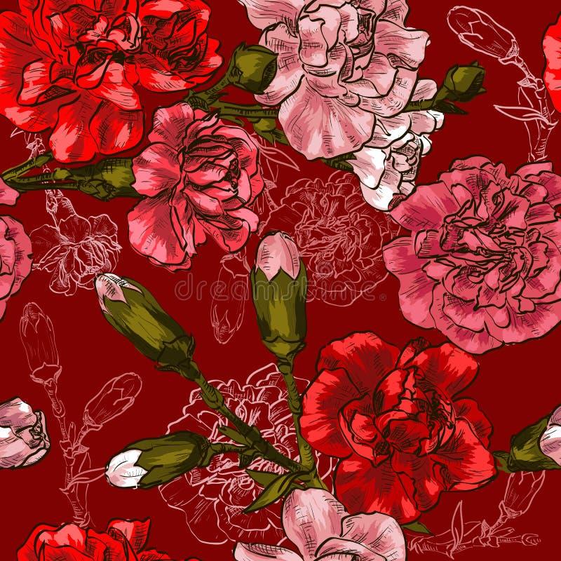Fondo inconsútil con el clavel rojo de la flor stock de ilustración