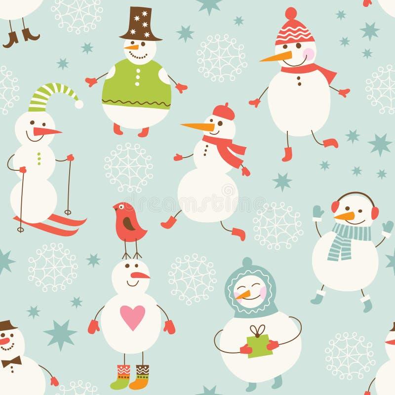 Fondo inconsútil con el muñeco de nieve lindo ilustración del vector