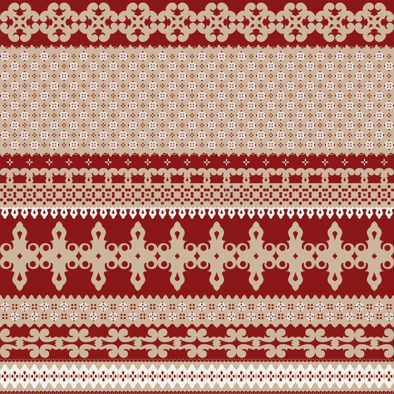 Fondo inconsútil con el ornamento rojo rico combinado con beige caliente libre illustration