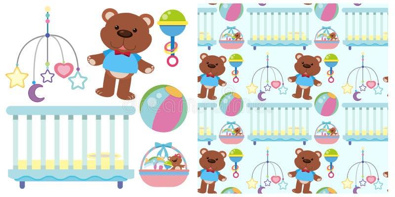 Fondo inconsútil con el pesebre y los juguetes del bebé stock de ilustración