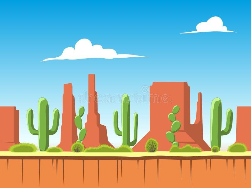 Fondo inconsútil con el suelo, los arbustos, las montañas y las capas del cielo nublado libre illustration