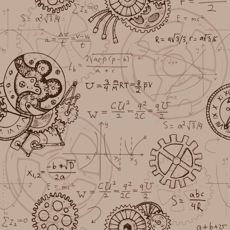Fondo inconsútil con fórmulas de la matemáticas, dientes, gráficos y viejos mecanismos ilustración del vector