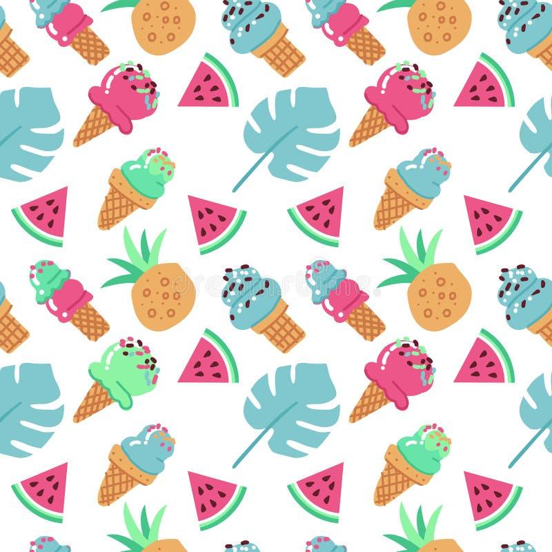 Fondo inconsútil con helado, la sandía, la piña y las hojas de palma Ejemplo plano exhausto de la mano del vector en el fondo bla ilustración del vector