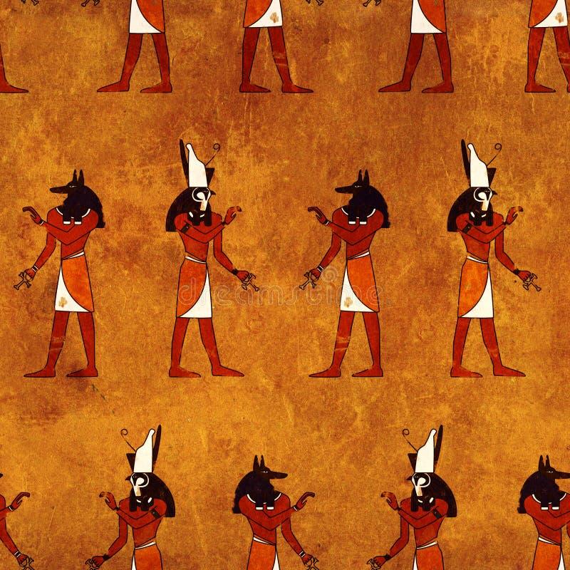 Fondo inconsútil con imágenes egipcias de dioses libre illustration