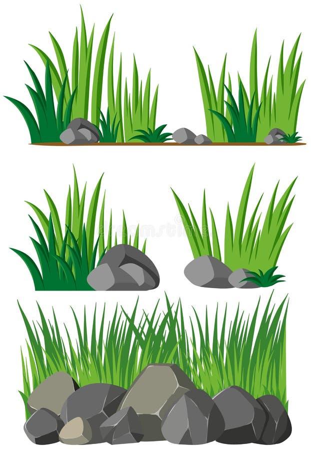 Fondo inconsútil con la hierba y las rocas libre illustration