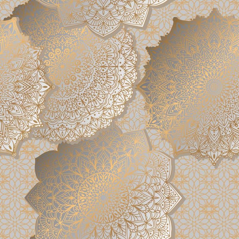 Fondo inconsútil con la mandala del ornamento en color oro Modelo redondo del diseño del arabesque libre illustration