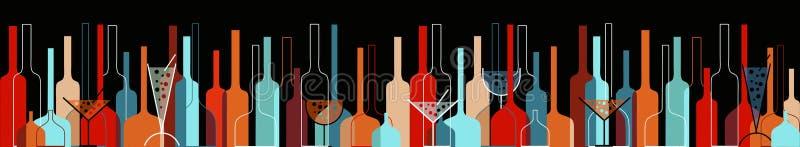 Fondo inconsútil con las botellas y los vidrios de vino stock de ilustración