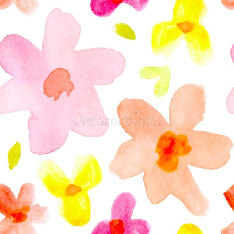 Fondo inconsútil con las flores abstractas de la acuarela ilustración del vector