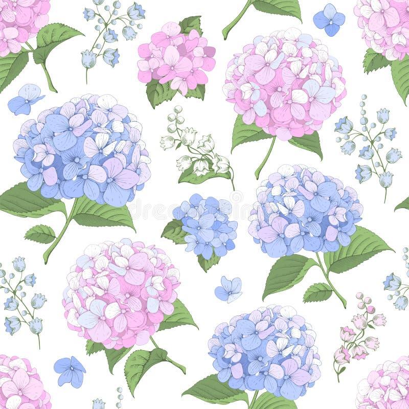 Fondo inconsútil con las flores de la hortensia stock de ilustración