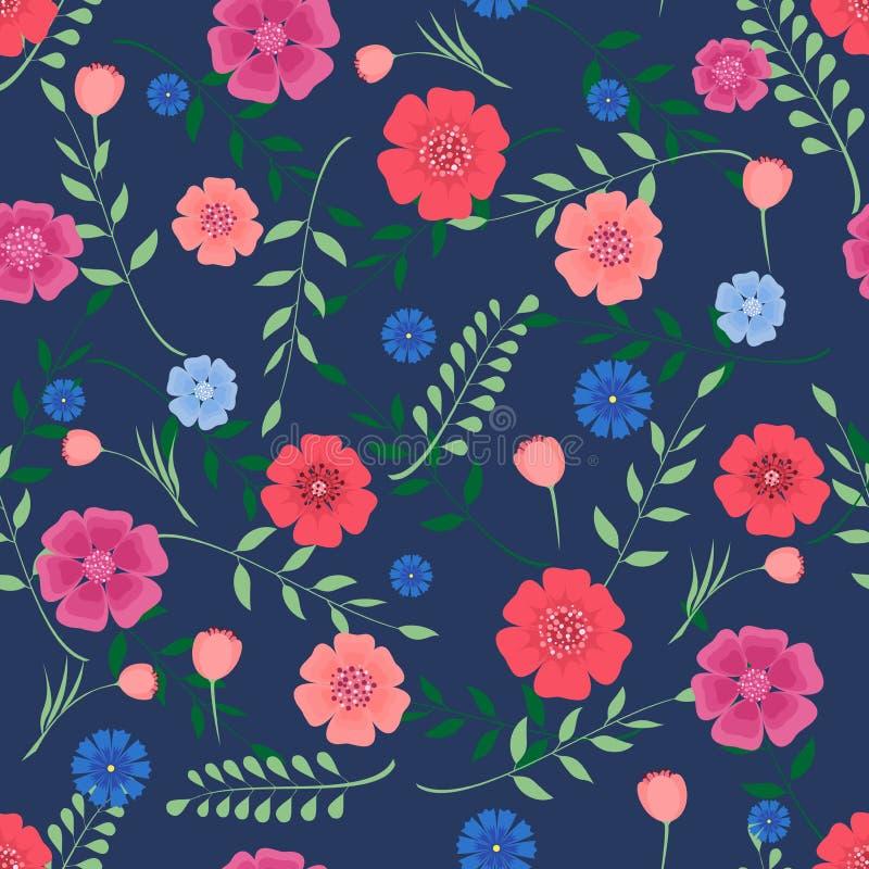 Fondo inconsútil con las flores y las ramas de hojas en un fondo azul marino libre illustration