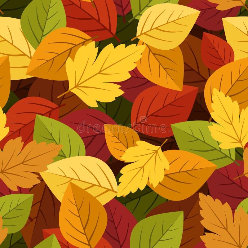Fondo inconsútil con las hojas de otoño coloridas. ilustración del vector