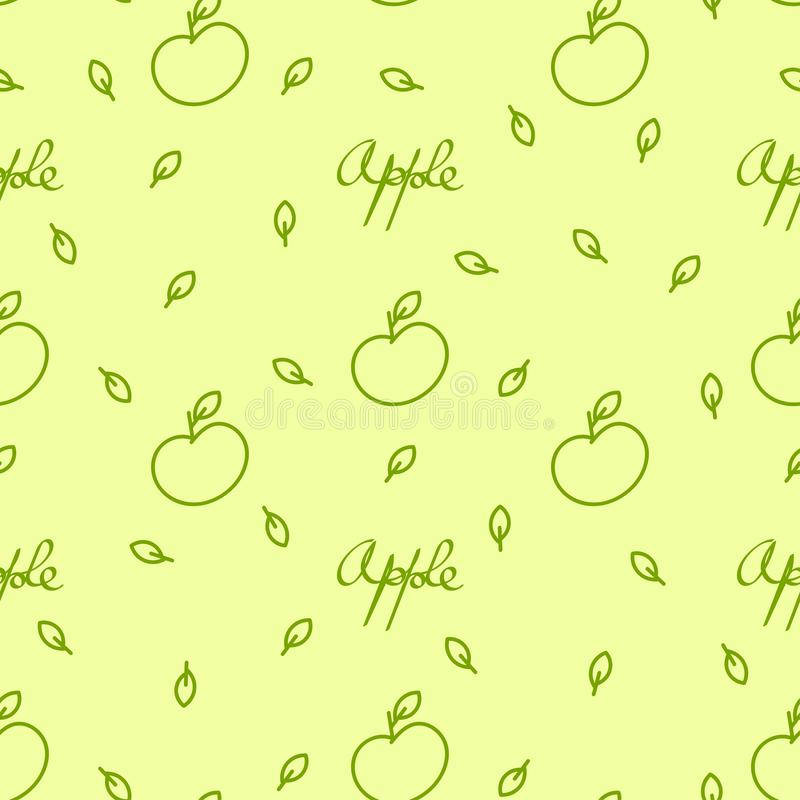 Fondo inconsútil con las manzanas, las hojas y las letras libre illustration