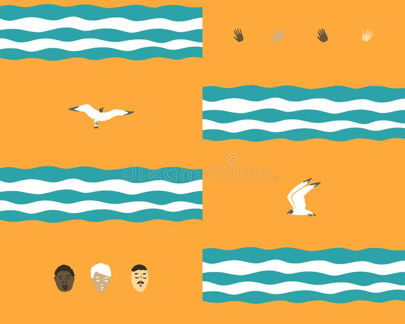 Fondo inconsútil con las ondas y pájaros y gente stock de ilustración