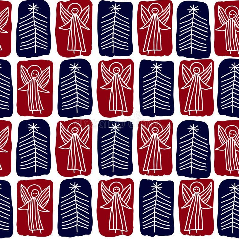 Fondo inconsútil con los ángeles y los árboles de navidad ilustración del vector