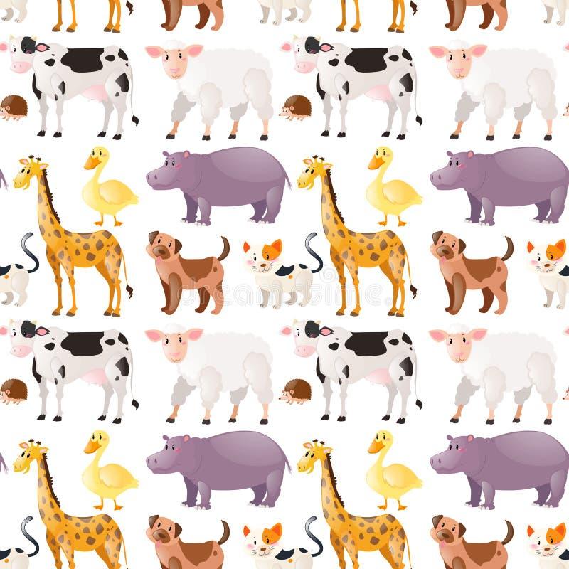 Fondo inconsútil con los animales lindos libre illustration