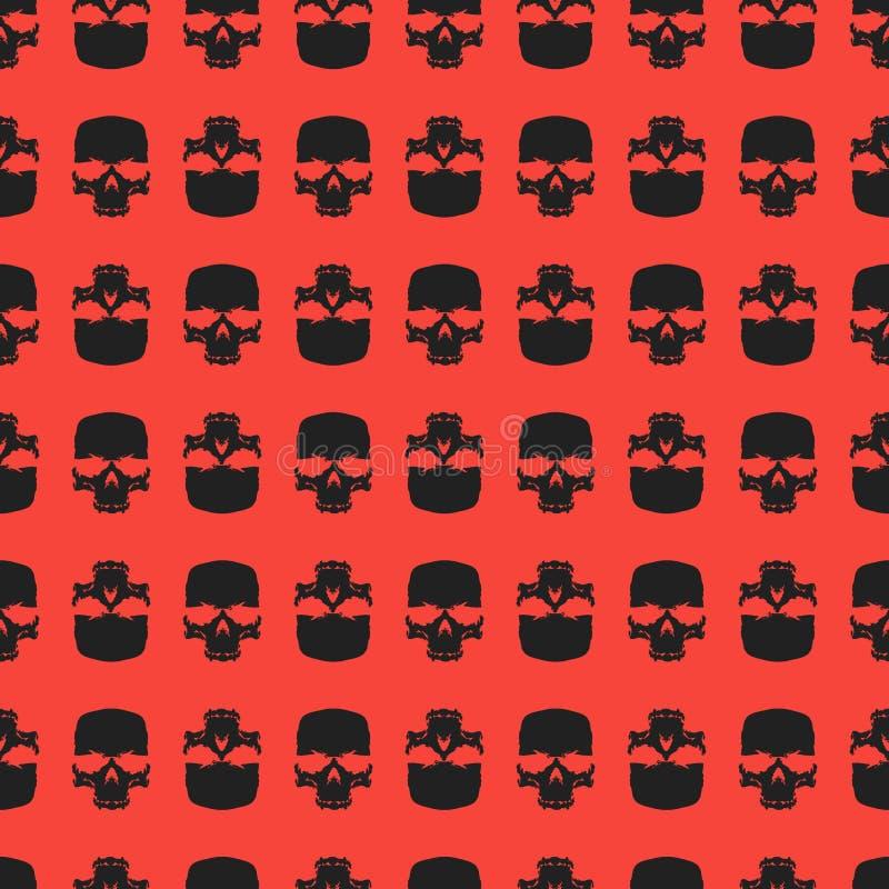 Fondo inconsútil con los cráneos, diseño del modelo del vector del grunge stock de ilustración
