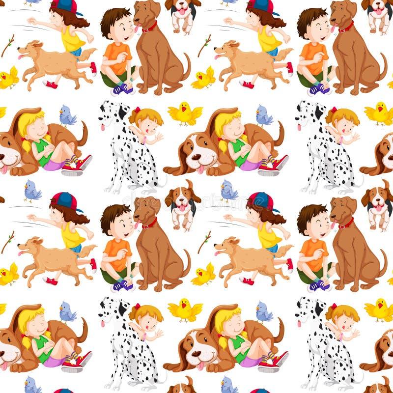 Fondo inconsútil con los niños y los animales domésticos libre illustration