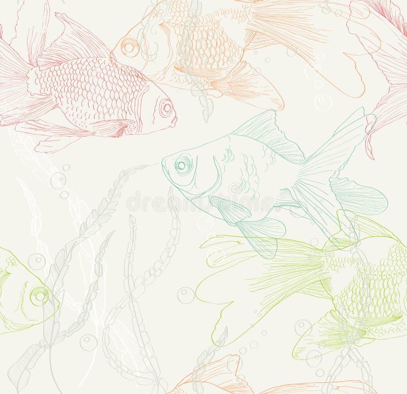 Fondo inconsútil con los pescados del oro stock de ilustración